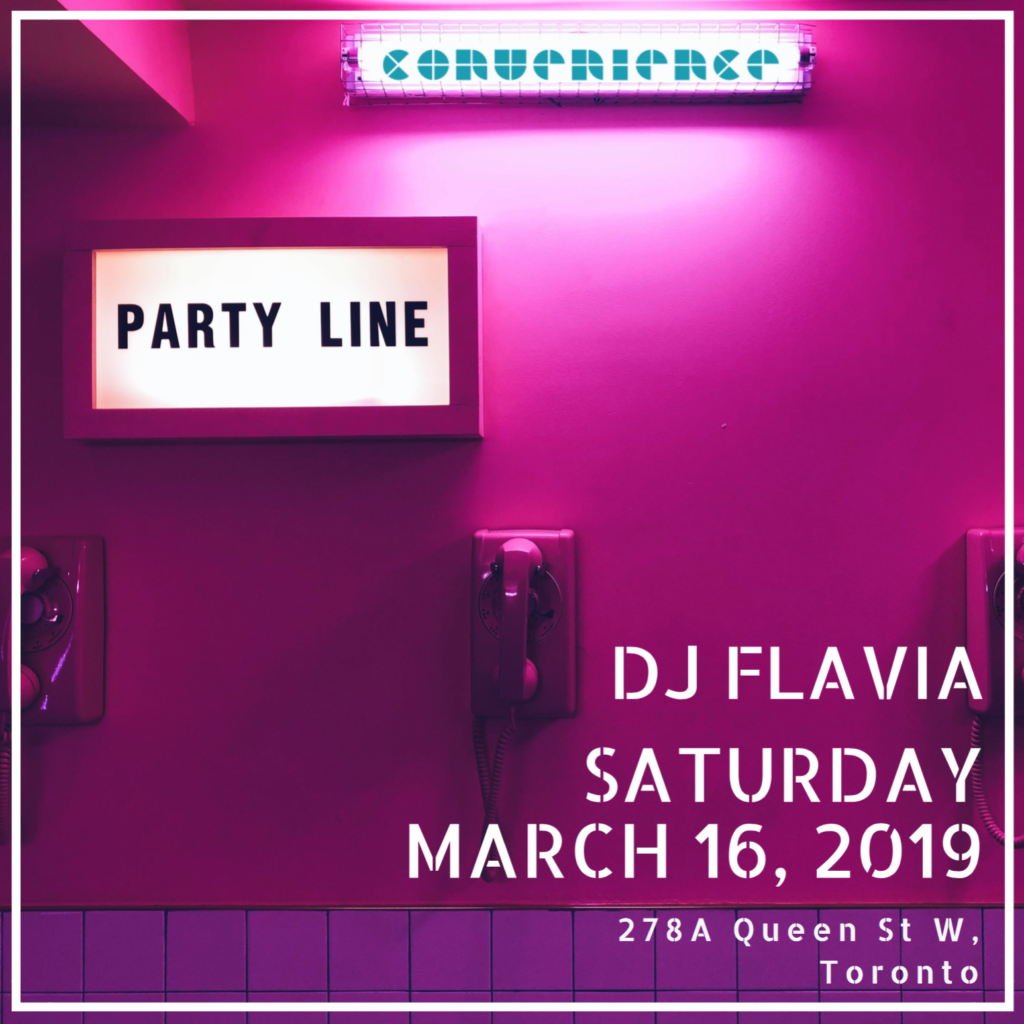 Party Line Pink print Toronto Instagram Picture photoshoot locations convenience bar Female DJ Toronto March 16 Deejay flavia your girl flav 2019 queen west